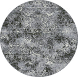 Dynamic Rugs Ancient Garden 57558 Steel Blue/Cream Area Rug Round Shot