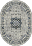 Dynamic Rugs Ancient Garden 57559 Silver/Blue Area Rug Oval Shot