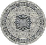 Dynamic Rugs Ancient Garden 57559 Silver/Blue Area Rug Round Shot