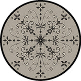Dynamic Rugs Piazza 2583 Sand/Black Area Rug Round Shot