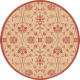 Dynamic Rugs Piazza 2744 Natural/Red Area Rug Round Shot