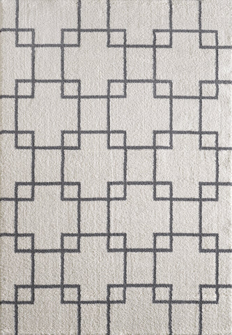Dynamic Rugs Silky Shag 5901 White Area Rug main image