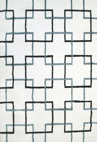 Dynamic Rugs Silky Shag 5901 White/Grey/Black Area Rug main image