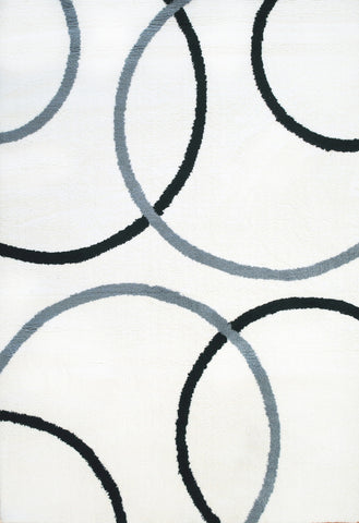 Dynamic Rugs Silky Shag 5922 White/Grey/Black Area Rug main image