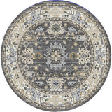 Dynamic Rugs Yazd 8531 Grey/Ivory Area Rug Round Shot