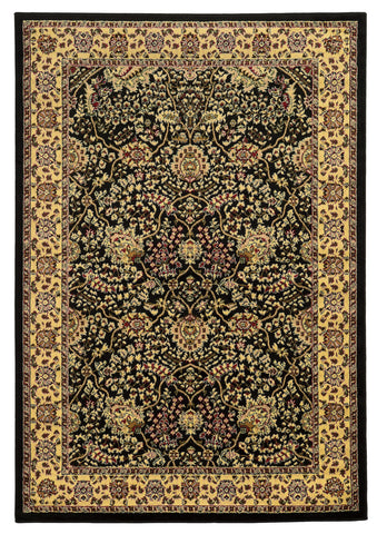 Linon Elegance Collection RUG-EE02 Black/Ivory Area Rug main image