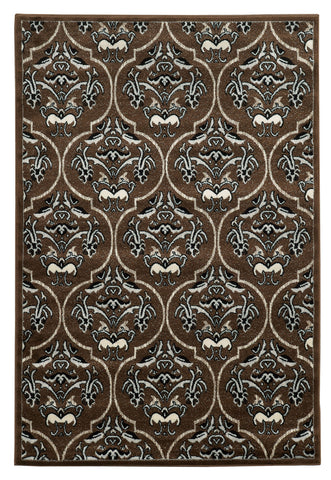Linon Elegance Collection RUG-EE24 Brown/Ivory Area Rug main image