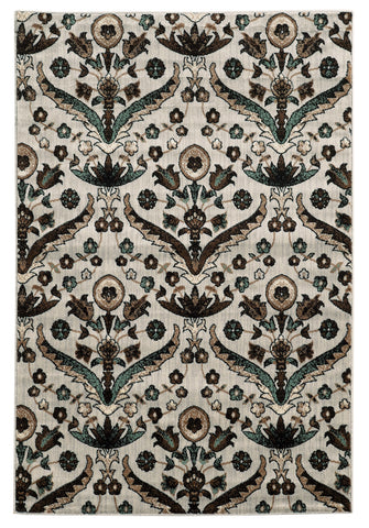 Linon Elegance Collection RUG-EE26 White/Turquoise Area Rug main image