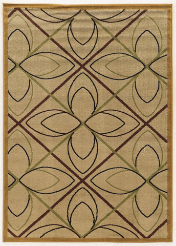Linon Elegance Collection RUGEE310 Beige/Burgundy Area Rug main image