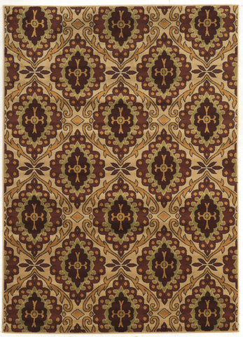 Linon Elegance Collection RUGEE326 Beige/Burgundy Area Rug main image