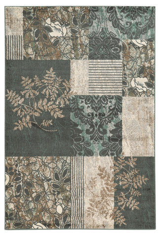 Linon Elegance Collection RUG-EE33 Grey/Turquoise Area Rug main image