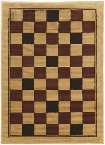 Linon Elegance Collection RUGEE330 Beige/Burgundy Area Rug main image