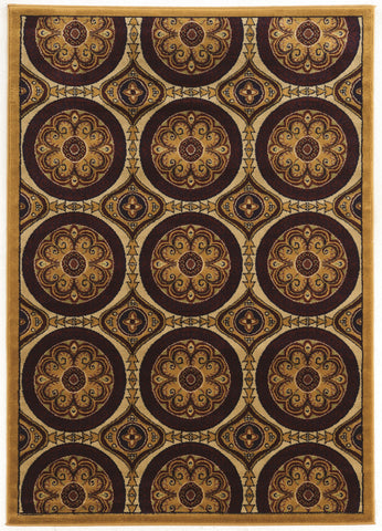 Linon Elegance Collection RUGEE336 Beige/Burgundy Area Rug main image