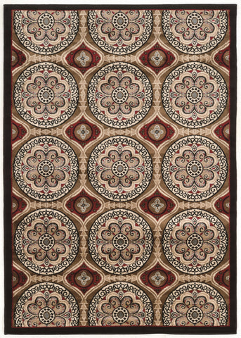 Linon Elegance Collection RUGEE343 Beige/Burgundy Area Rug main image