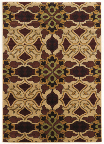 Linon Elegance Collection RUGEE344 Beige/Burgundy Area Rug main image