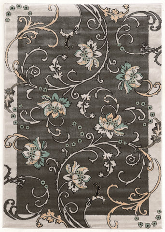 Linon Elegance Collection RUGEE346 Grey/Charcoal Area Rug main image