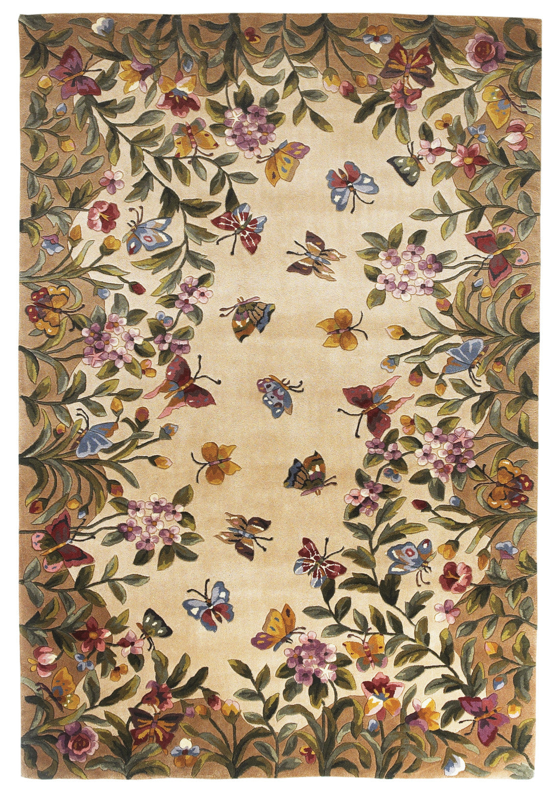 KAS Emerald 9019 Antique Beige Butterfly Garden Hand Tufted Area Rug