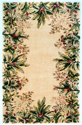 KAS Emerald 9022 Ivory Tropical Border Hand Tufted Area Rug