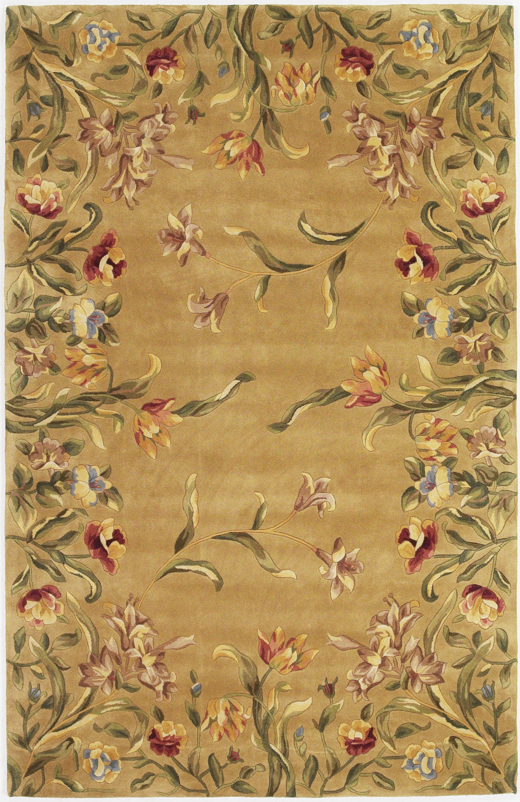 KAS Emerald 9080 Gold Tulip Garden Hand Tufted Area Rug