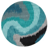 LR Resources Fashion 02511 Blue Hand Tufted Area Rug 7'9'' X 7' 9'' Round