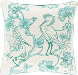 Surya Egrets Elegant Egret FBE-001 Pillow by Florence Broadhurst 20 X 20 X 5 Down filled