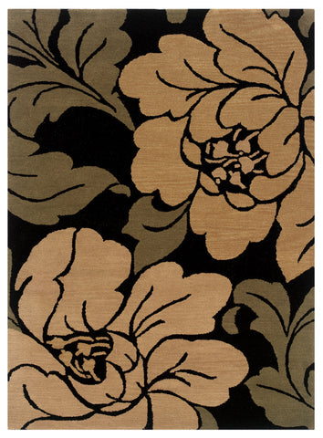 Linon Florence Collection RUG-FL09 Black/Sand Area Rug main image