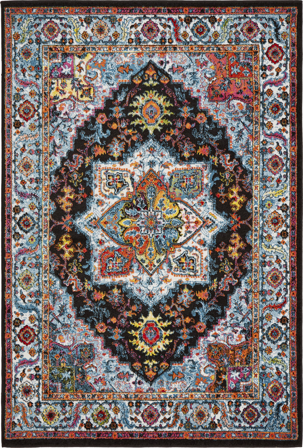 LR Resources Fusion 81345 Black / Blue Area Rug main image