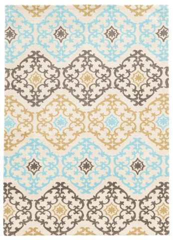 Linon Geo Collection RUGGE01 Grey/Aqua Area Rug main image