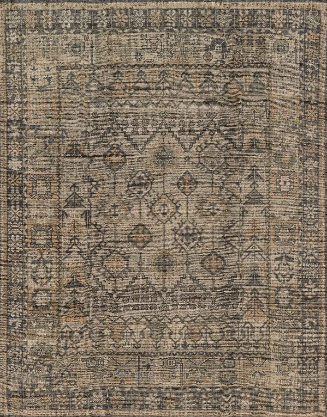 Loloi Heirloom HQ 06 Bone/Charcoal Area Rug. Click Image To Zoom