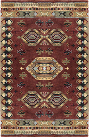 LR Resources Heritage 10104 Rust/Medium Green Area Rug