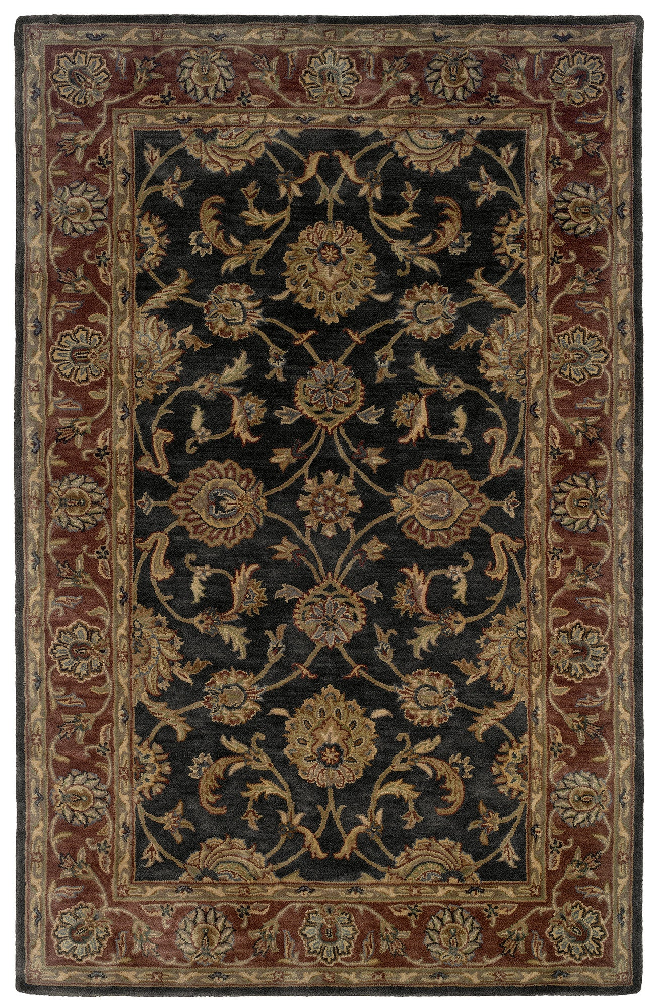 LR Resources Heritage 10105 Charcoal/ Rust Area Rug