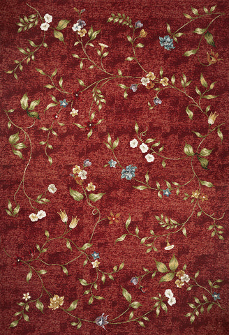 KAS Horizon 5717 Red Floral Machine Woven Area Rug