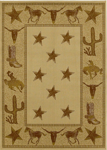 Mayberry Hearthside HS7662-Cowboy Up Beige Area Rug