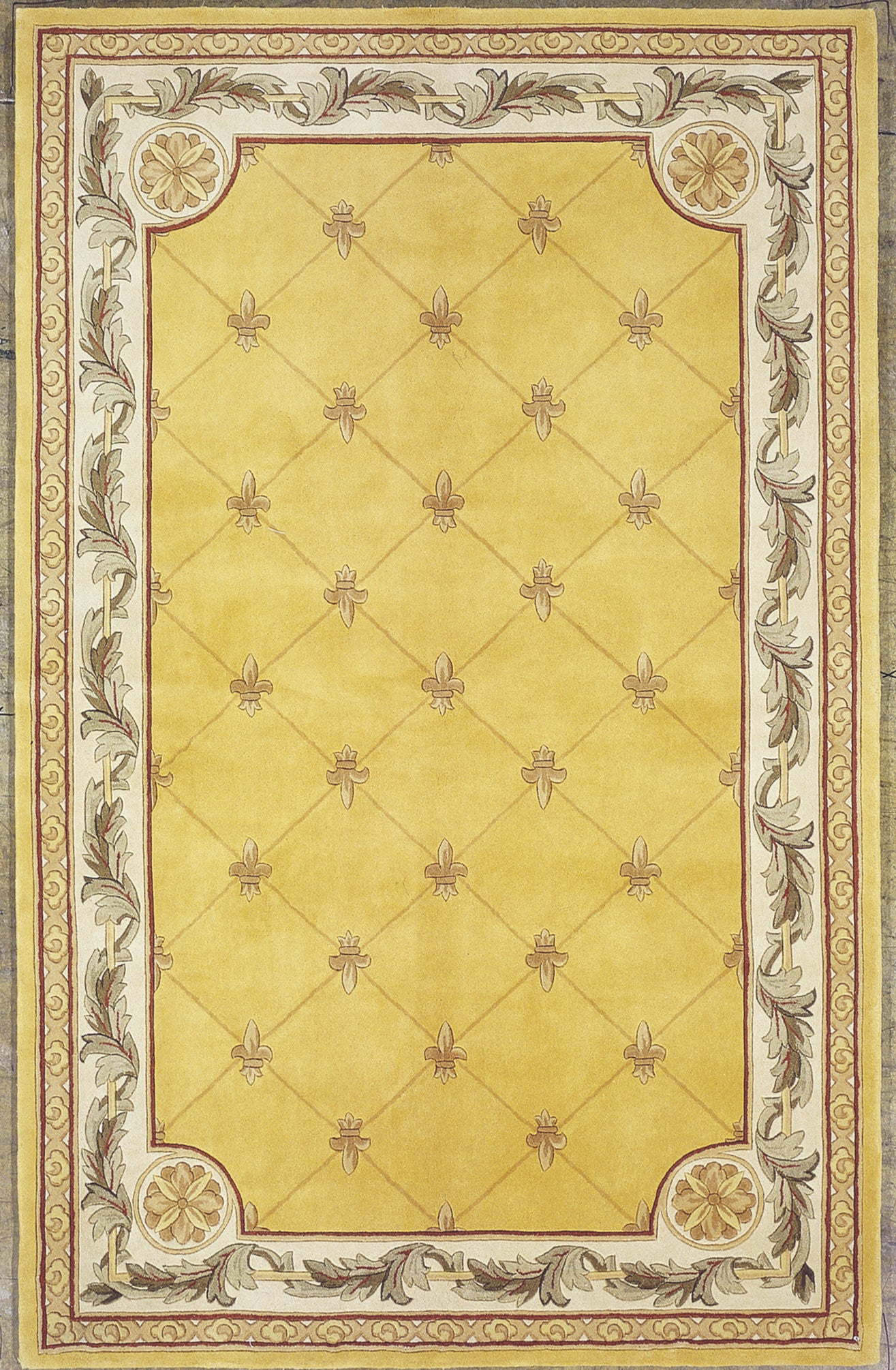 KAS Jewel 0308 Gold Fleur-De-Lis Hand Tufted Area Rug