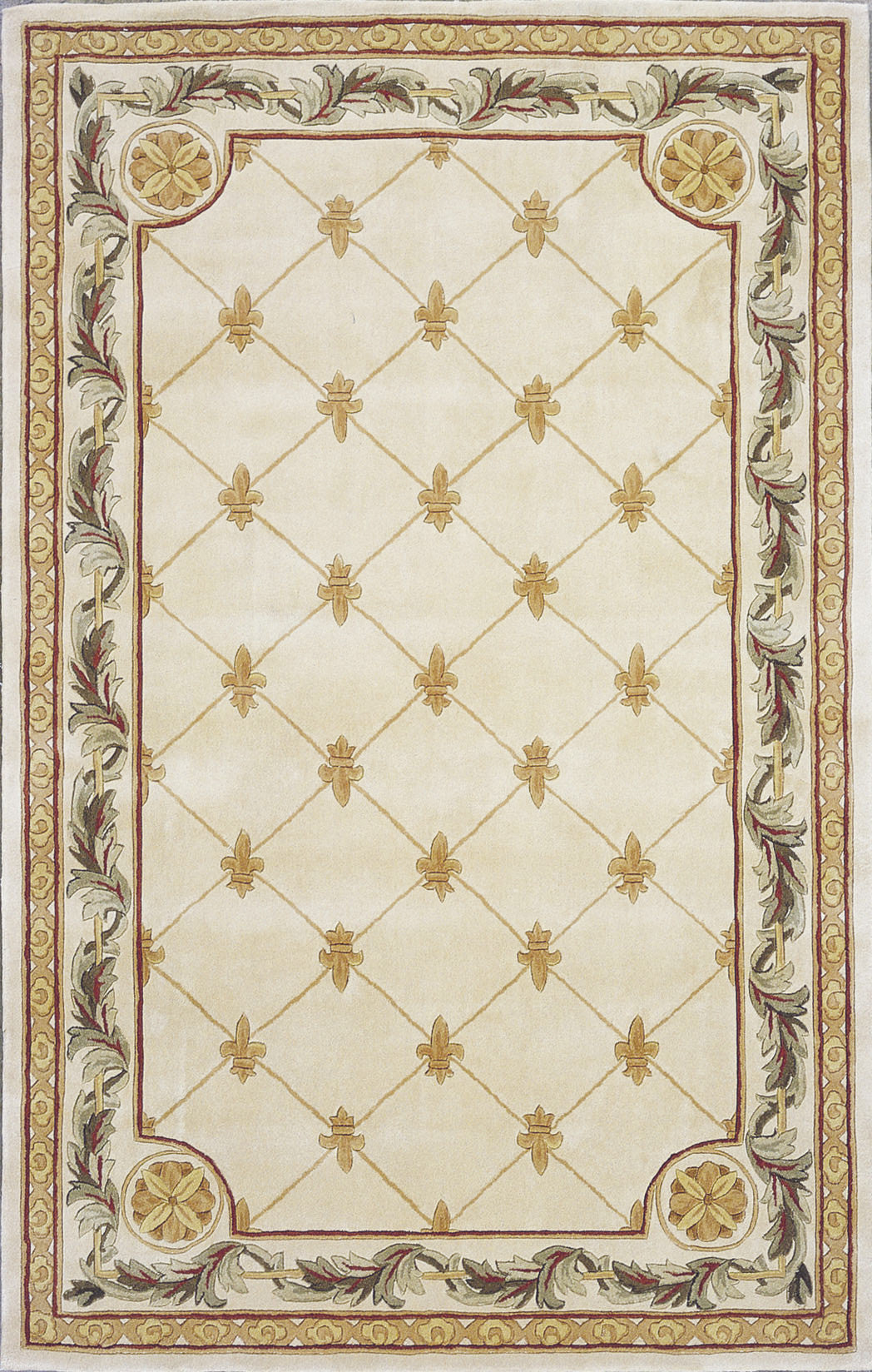 KAS Jewel 0310 Antique Ivory Fleur-De-Lis Hand Tufted Area Rug