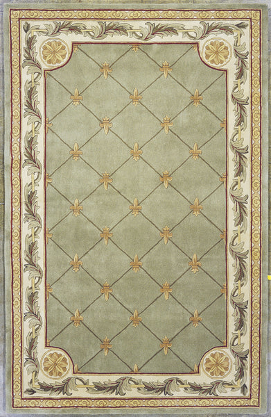 Kas Jewel 0313 Sage Fleur De Lis Area Rug Incredible Rugs And Decor