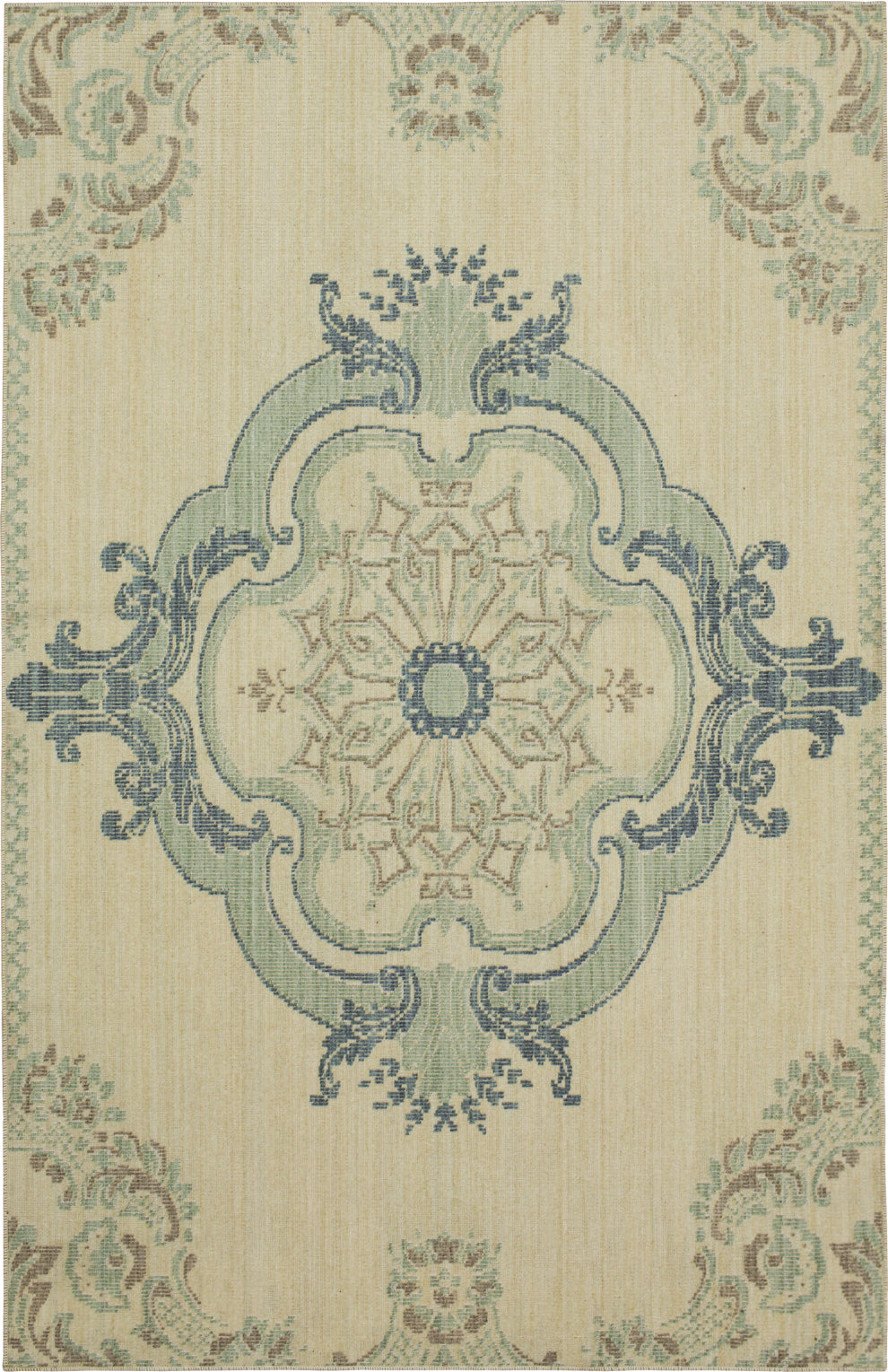 Karastan Vintage Tapis Crown Jewel Aqua Beige Area Rug by Patina Vie main image