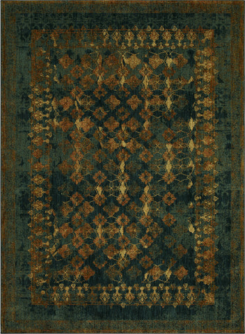 Karastan Spice Market Faded Arabesque Sapphire Area Rug by Patina Vie main image