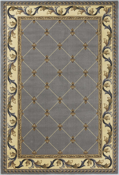Kas Corinthian 5322 Slate Blue Fleur De Lis Area Rug Incredible