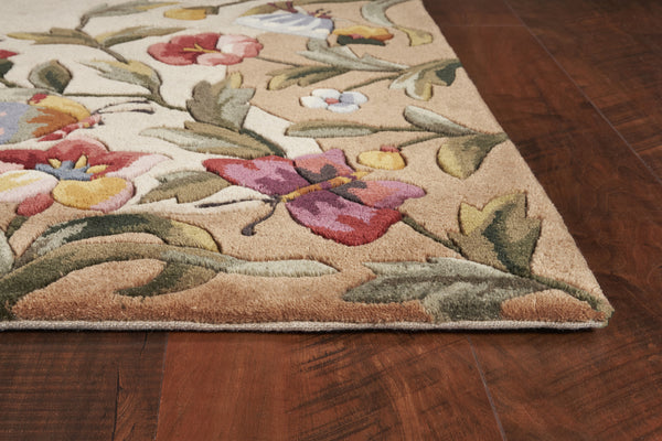 Kas Emerald 9019 Antique Beige Butterfly Garden Area Rug Incredible Rugs And Decor