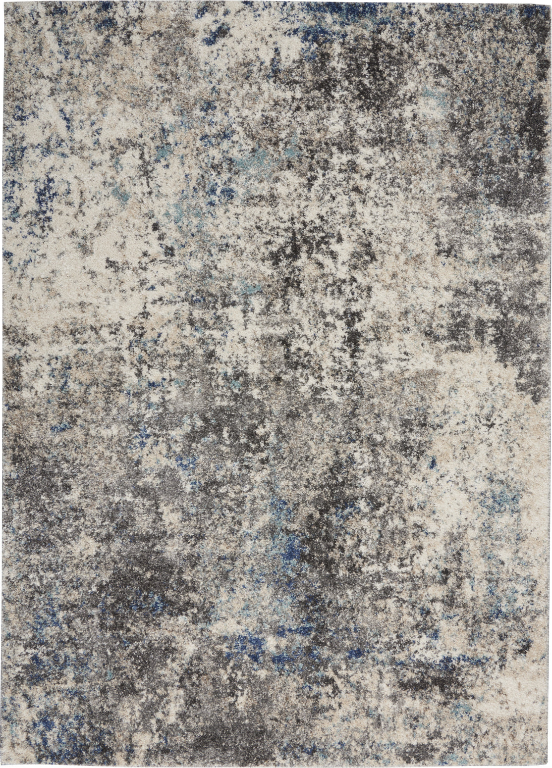 Nourison KI60 Ivory Shore KI61 Dark Grey/Multi Area Rug by Kathy Ireland main image