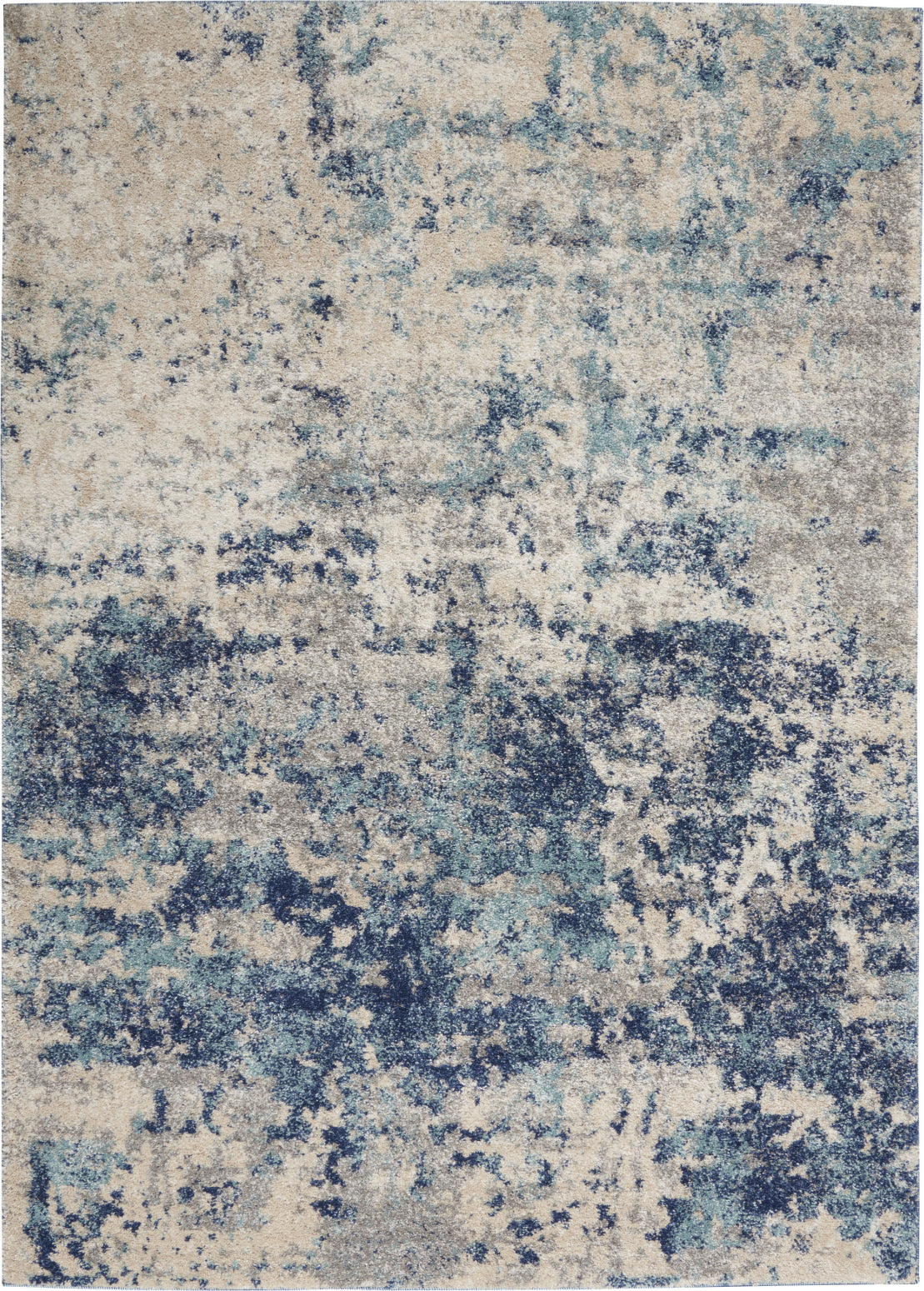 Nourison KI60 Ivory Shore KI61 Ivory/Dark Blue Area Rug by Kathy Ireland main image