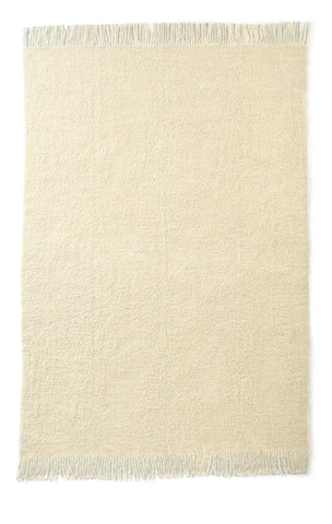 Auskin Luxury Skins 100% Baby Alpaca Throw Ivory Boucle Bedding
