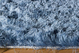 Momeni Luster Shag LS-01 Light Blue Area Rug Corner Shot