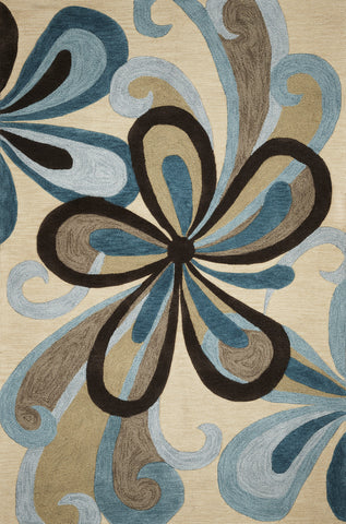 KAS Milan 2120 Sand/Teal Groove Hand Tufted Area Rug