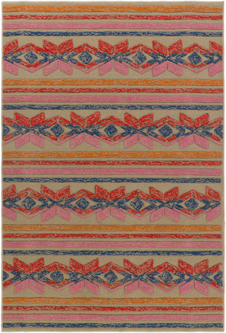 Artistic Weavers Mayan Star Poppy Red/Carnation Pink Area Rug main image