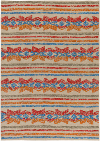Artistic Weavers Mayan Star Poppy Red/Tangerine Area Rug main image