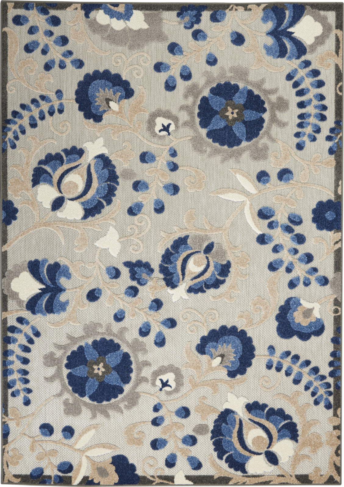 Aloha ALH17 Natural/Blue Area Rug by Nourison Main Image