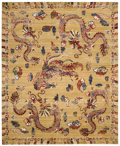 Nourison Dynasty DYN02 Empire Ochre Machine Woven Area Rug by Barclay Butera