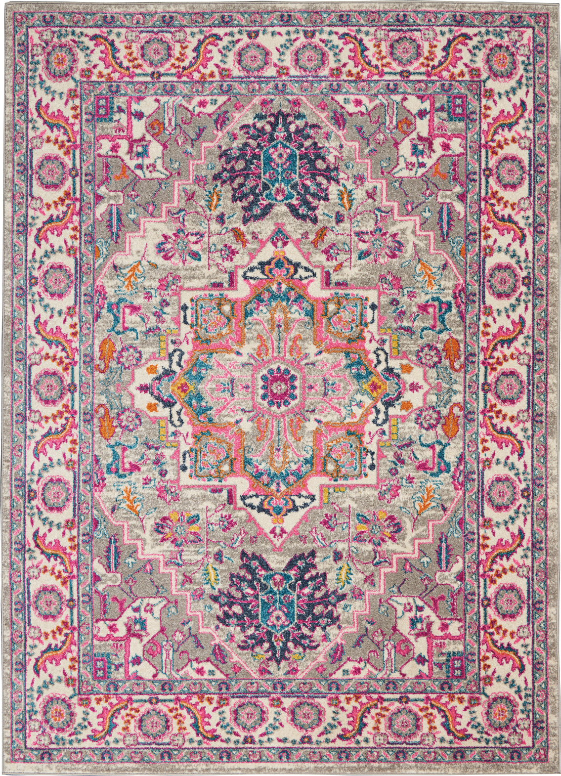Nourison Passion PSN20 Light Grey/Pink Area Rug main image